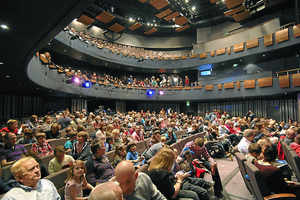 The audience enjoy The Chuckle Brothers at the Theatre Severn Shrewsbury. The town enjoys touring shows but no resident theatre of its own.