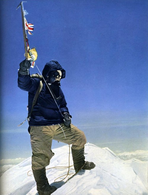 A picture I had on my wall as a child. Tenzing Norgay on top of the world in 1953. Photo credit British Foreign and Commonwealth Office