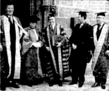 Dame Maria Ogilvie Gordon receiving an honourary degree from the University of Sydney in 1938