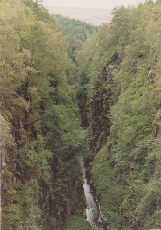 Corrieshalloch Gorge. The viewing bridge can be seen just below the skyline.