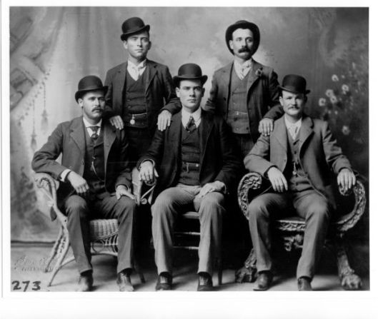 The Hole in the Wall Gang. Butch is front right (as we look at it) and Sundance front left. Harvey Logan (Kid Curry) is the fellow with the fine moustache.